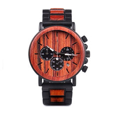 The Chronometer Dial Metal Men's Wood Watch Mohogany - EL CRONOMETRO