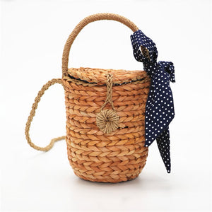 Polka Dot Cylinder Straw Cross-Body Purse | Cartera Cilindro de Paja