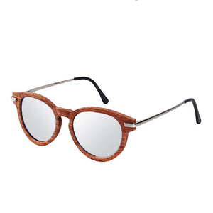 The Round Dark Wood & Metal Sunglasses - EL CIRCULO METAL