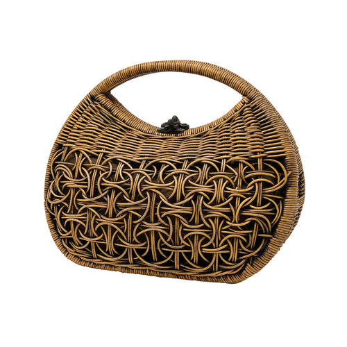 Bali handle Rattan Purse with lining