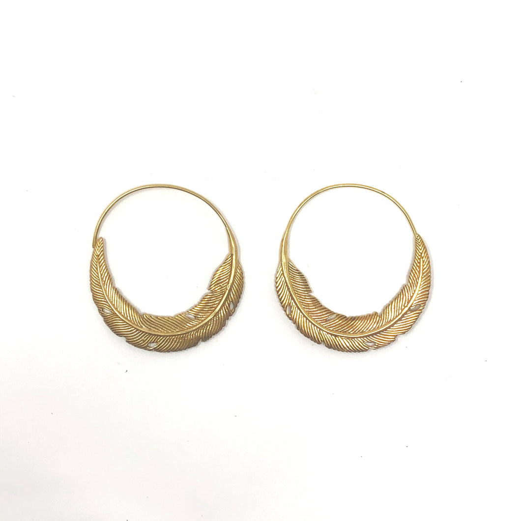 Bali Brass Handmade Feather Hoop Earrings