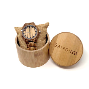 Zebra Nat Wood Watch with Bamboo Cylinder