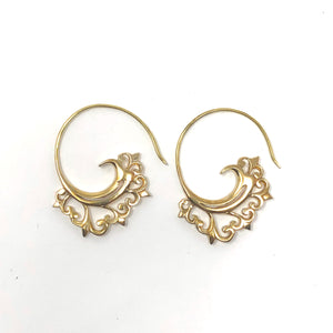 Bali Brass Handmade Small Baroque Earrings