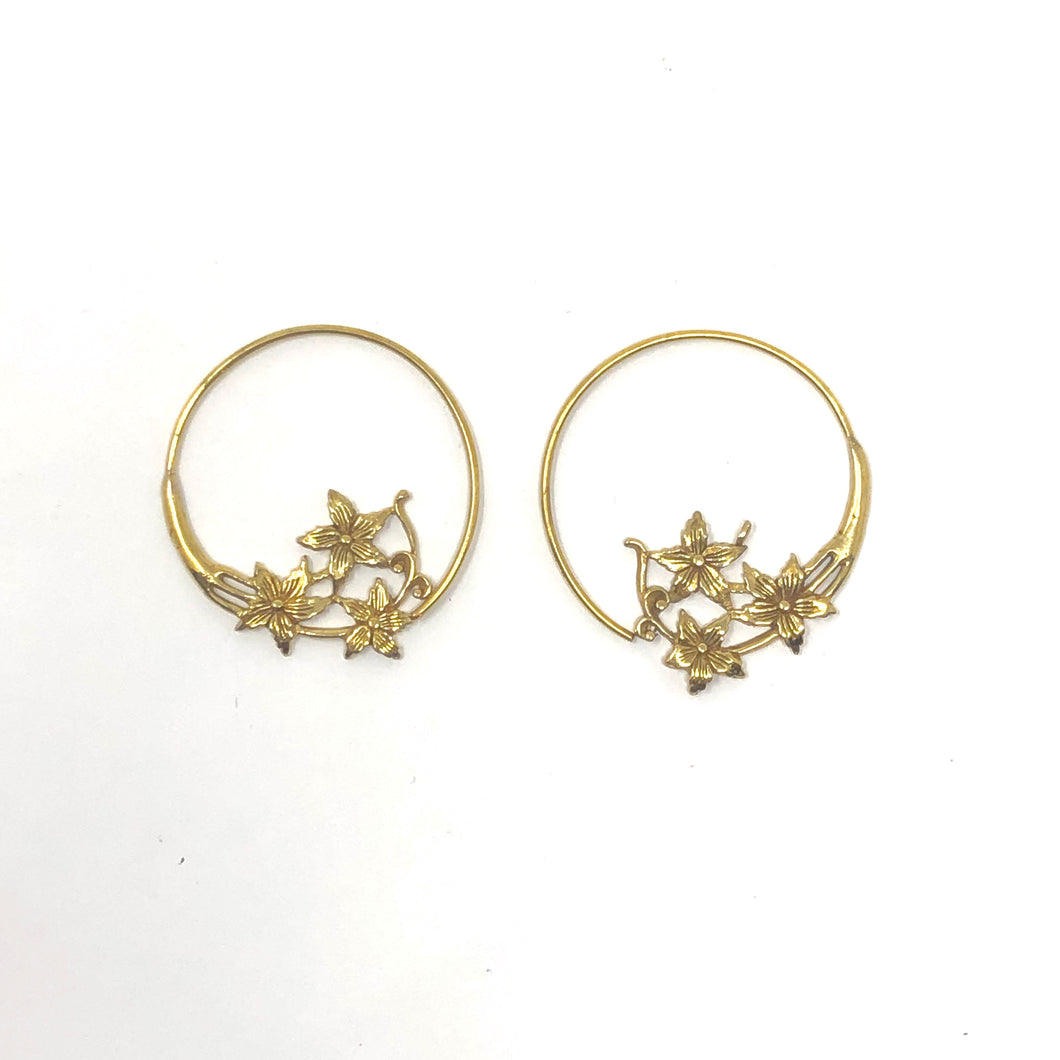 Bali Brass Handmade Flowers Earrings