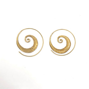 Bali Brass Handmade Spiral Circle Feather Earrings