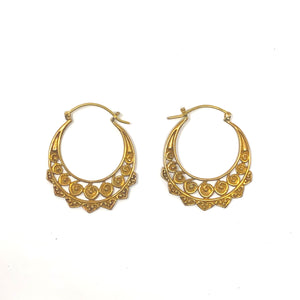 Bali Brass Handmade Large Flowers Hoops Earrings