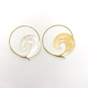 Mother of Pearl Earrings Feathers