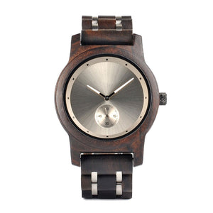 The Industrial Simple Large Dial Wood and Stainless Steel Watch - EL INDUSTRIAL SENCILLO