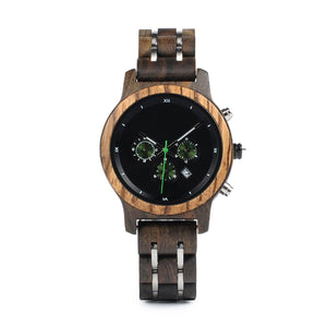 The Industrial Women's Unisex Black Wood and Stainless Steel Watch - EL INDUSTRIAL
