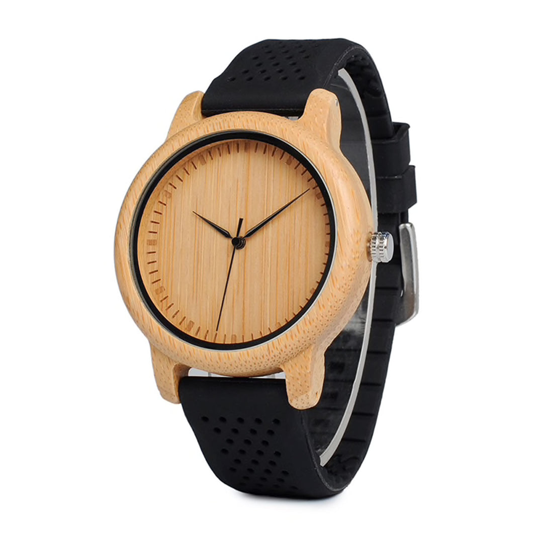 The Lively Wood Dial Silicone Band Black - EL ALEGRE
