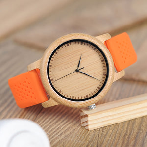 The Lively Wood Dial Silicone Band Orange - EL ALEGRE