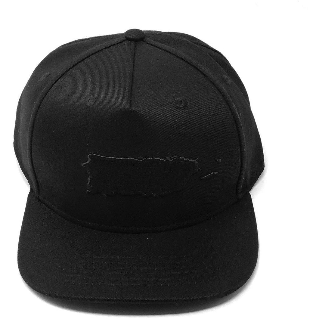 Puerto Rico Map Black Series Snapback Cap