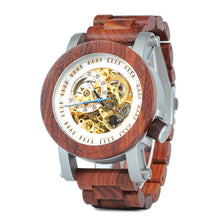 The Mechanical Self-Wind Wood Watch Mahogany - EL MECANICO