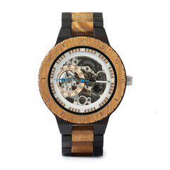 The Bichromal Mechanical Self-Wind Wood Watch Sandalwood - EL MECANICO
