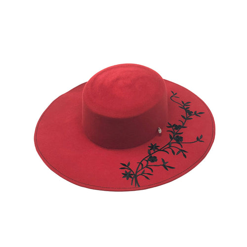 MEDITERRANEO RED WIDE BRIM WOOL WINTER HAT
