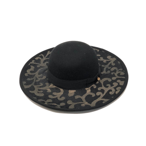 OMBRA GOLD WINTER DESIGNER HAT WIDE BRIM BLACK
