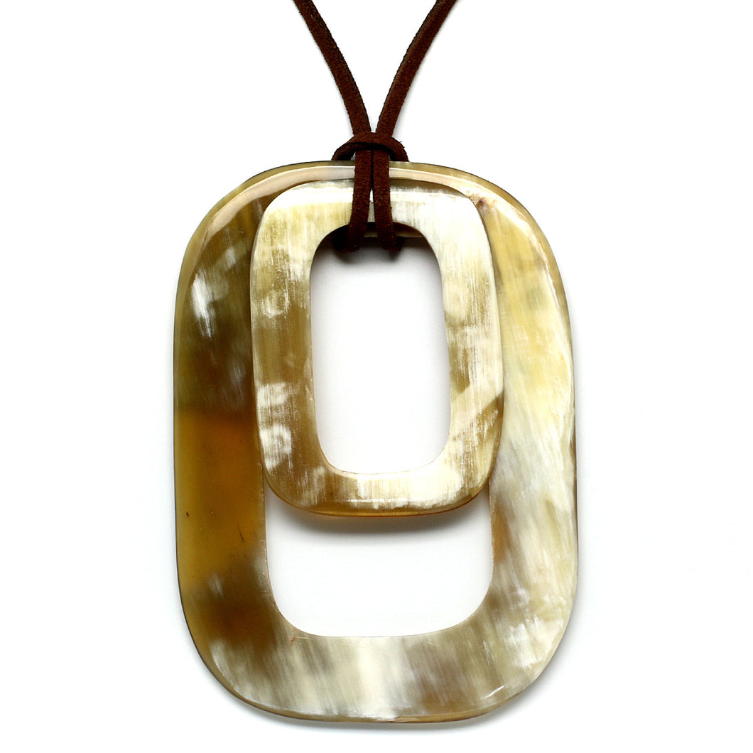 Lightweight Light Rectangle Polished Horn Pendant | Colgante de Cuerno