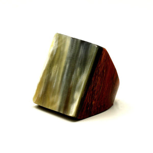 Lightweight Polished Horn & Rosewood Square Rings | Sortijas de Cuerno