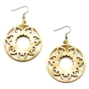 Lightweight Polished Horn Carved Sun Earrings | Pantallas Redondas de Sol Talladas en Cuerno