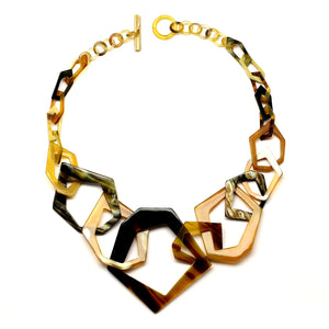 Geometric Horn Links Short Necklace | Collar de Cuerno Geometrico