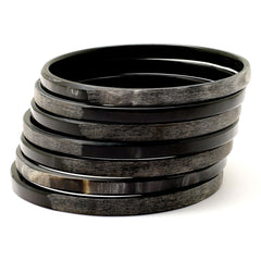 Lightweight Dark Color Thin Matte & Polished Horn Bangle | Pulsera de Cuerno Oscura