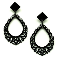 Lightweight Polished Horn Large Teardrop Shape with Carved Design Earrings | Pantallas