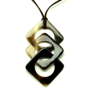 Lightweight Dark Triangles Polished Horn Pendant | Colgante de Cuerno