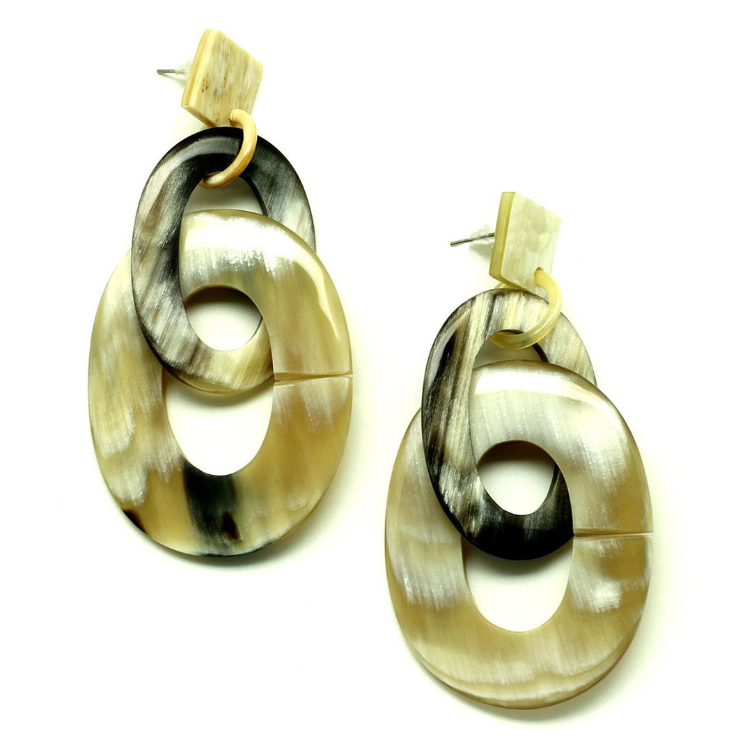Lightweight Horn Oval Links Post Earrings | Pantalla de Poste Ovalos en Cuerno