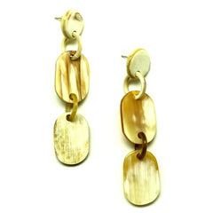Lightweight Light Color Horn Long Links Earrings | Pantalla de Cuerno Largas