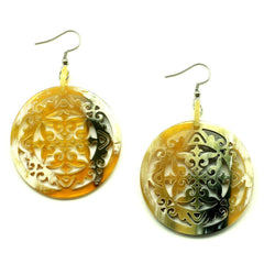 Lightweight Polished Horn Round Carved Baroque Earrings | Pantallas de Cuerno Redondas Talladas