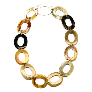 Lightweight Dark and Caramel Color Polished Horn Large Links Chain Necklace | Collar de Cuerno Grande