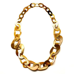 Lightweight Light Color Polished Horn Small to Large Links Necklace | Collar de Cuerno