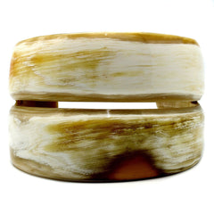 Lightweight Polished Horn Two Lines Rounded Cuff | Pulsera de Cuerno 2 Lineas