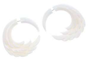 Short Wing Bone Split Fake Plug Earrings