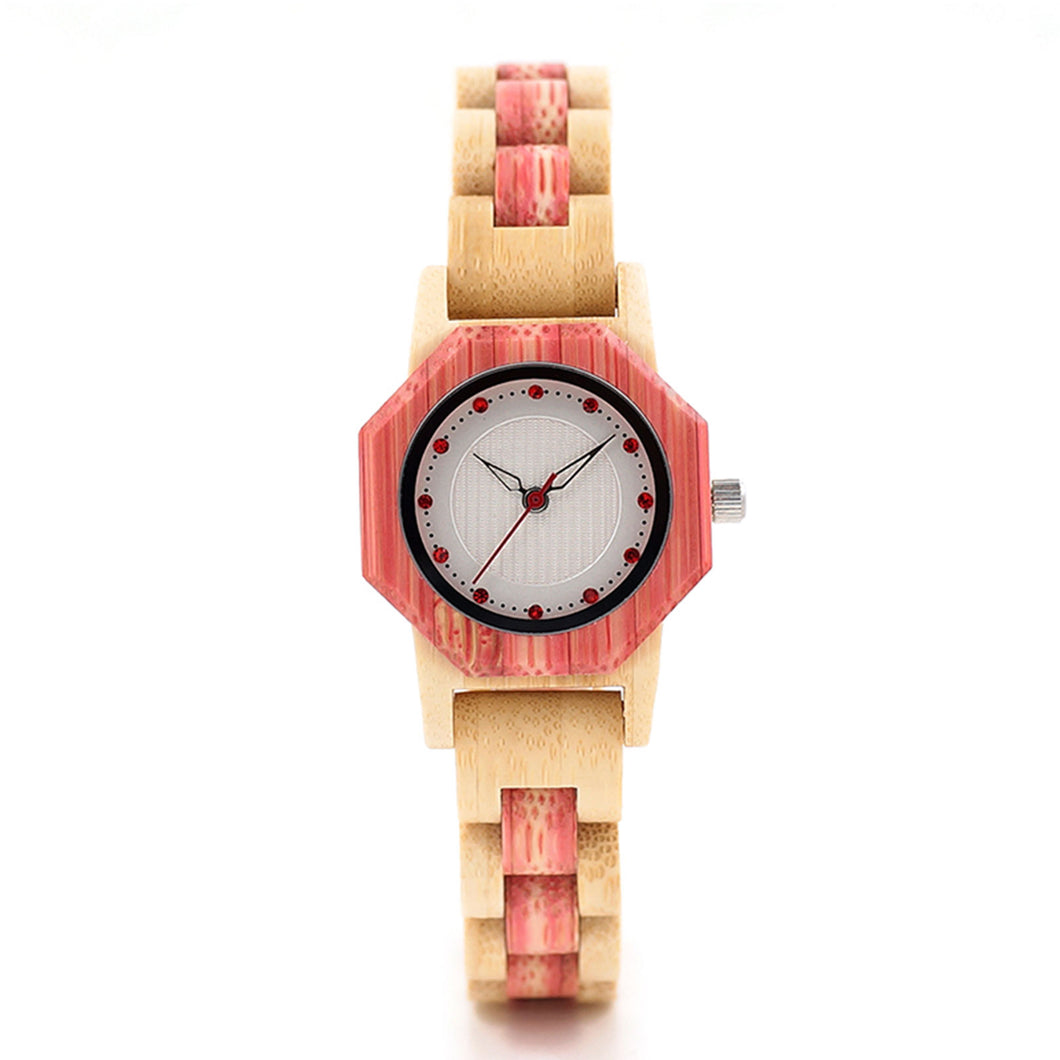 The Sweetheart Women's Pastel Pink and Light Wood Watch - QUERIDA
