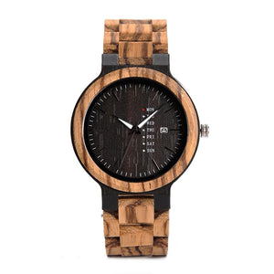 The Agenda Natural Wood Watch Black Dial - LA AGENDA