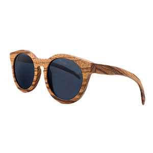 The Round Zebra Wood Sunglasses Black Lens - EL CIRCULO