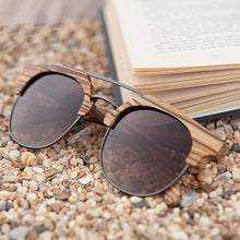 The Brow-line Zebra Wood and Metal Sunglasses Brown Lens - LAS CEJAS ZEBRA