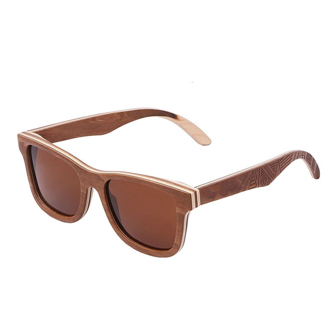 The Wayfarer Design Skateboard Wood & Etched Sunglasses - EL CAMINANTE TALLADO