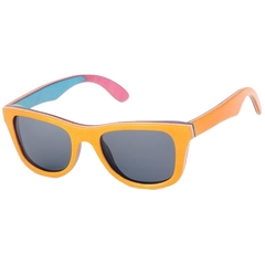 The Square Design Yellow Rainbow Wood Sunglasses - EL CUADRADO ARCOIRIS