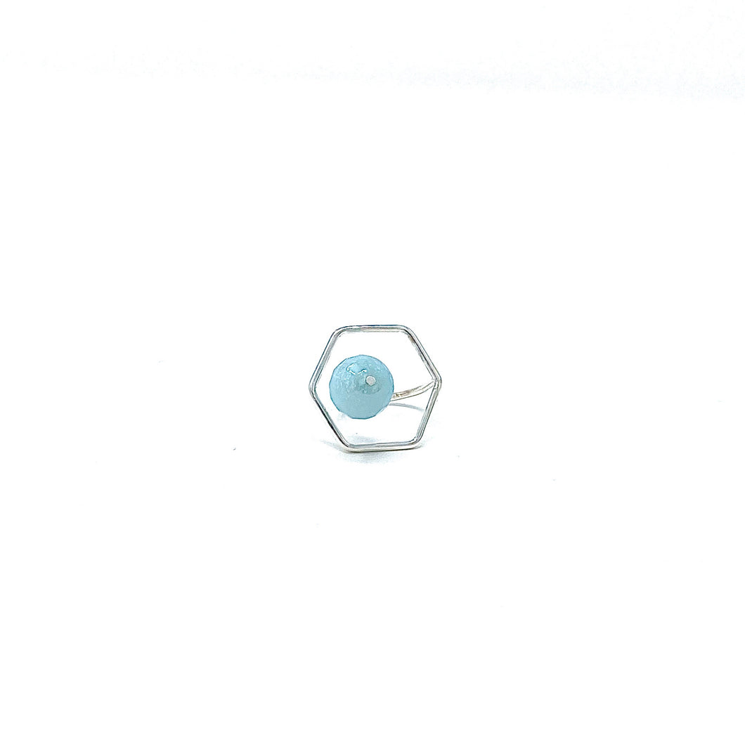 Minimalist 925 Silver Floating Hexagon Rings with Light Blue Jade by Nelson Enrique