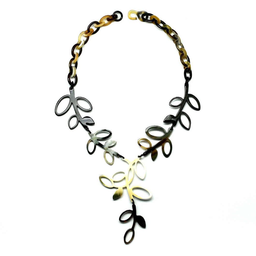 Leaf Drop Horn Necklace | Collar de Cuerno