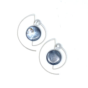 Minimalist 925 Silver Half-moon Earrings with Dark Mother of Pearl & Howlite by Nelson Enrique