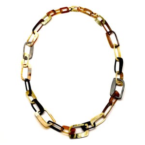 Rectangle Horn Links Necklace | Collar de Cuerno