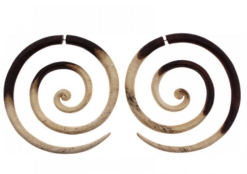 Sono Multicolor Wood Large Spiral Split Fake Gauge Earrings