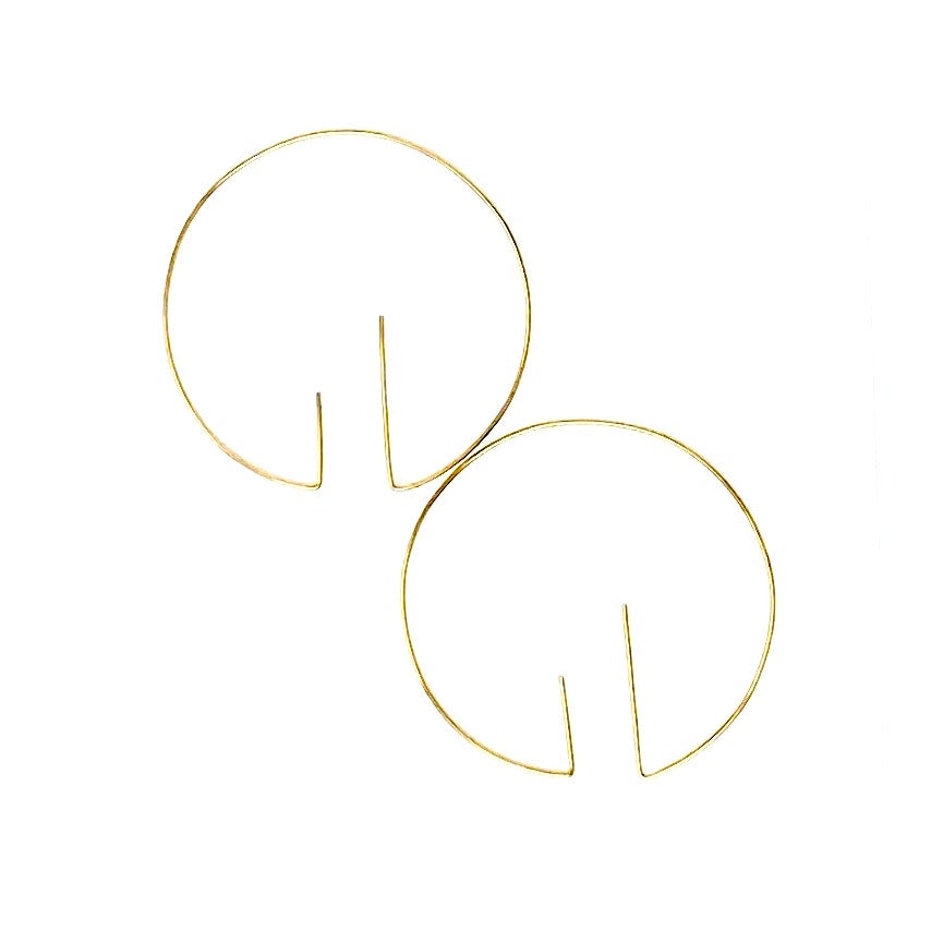 Minimalist Brass Circle Minimalist Hoop Earrings Large by Nelson Enrique
