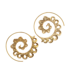 Bali Brass Lily Spiral Handmade Earrings