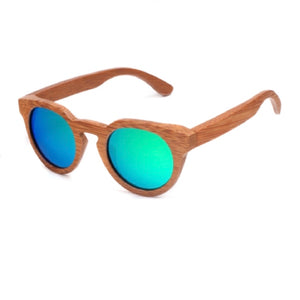 The Round Natural Wood Sunglasses Green Lens - EL CIRCULO