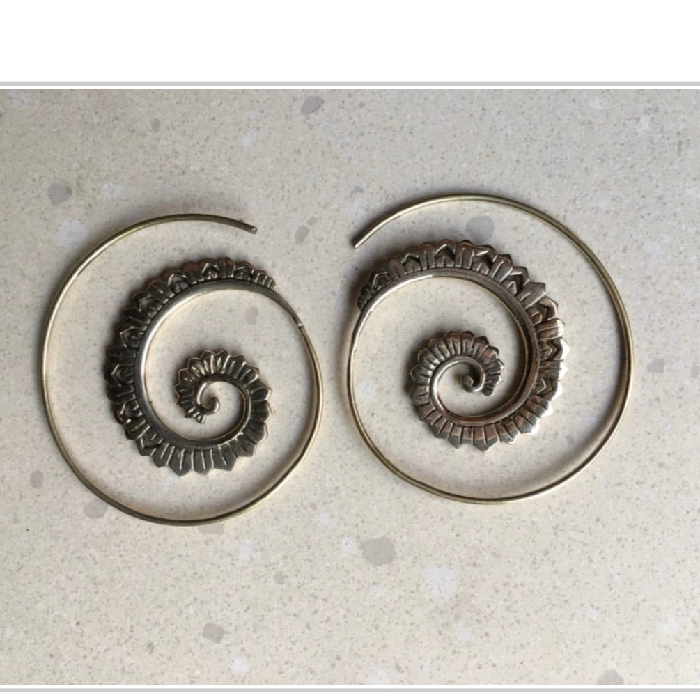 Bali Brass Tribal Spiral Handmade Earrings