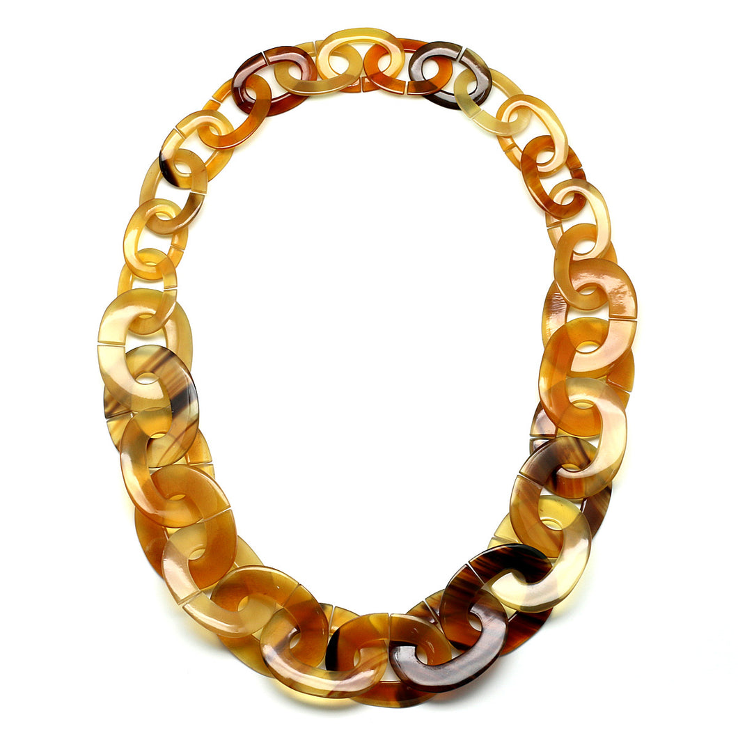 Caramel Color Horn Links Necklace | Collar de Cuerno